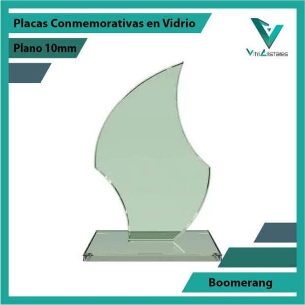 Placas Conmemorativas en Vidrio Boomerang en grabado laser