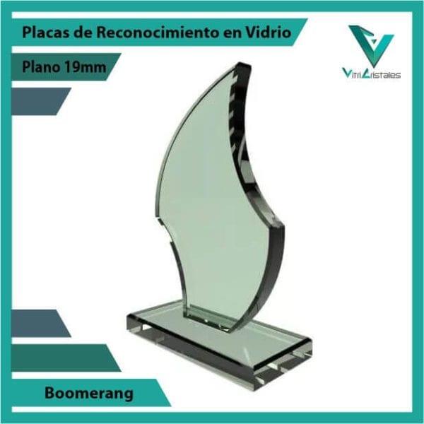 Placas de Reconocimiento en Vidrio Boomerang personalizada