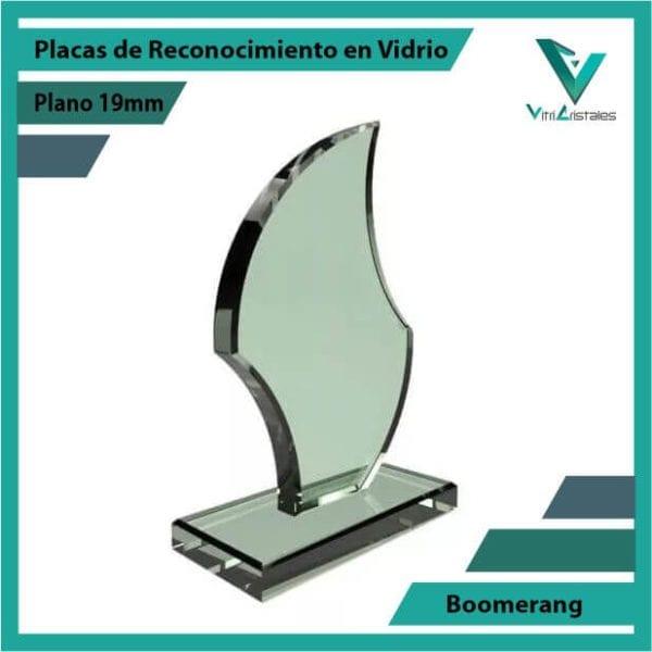 Placas de Reconocimiento en Vidrio Boomerang personalizada con grabado laser