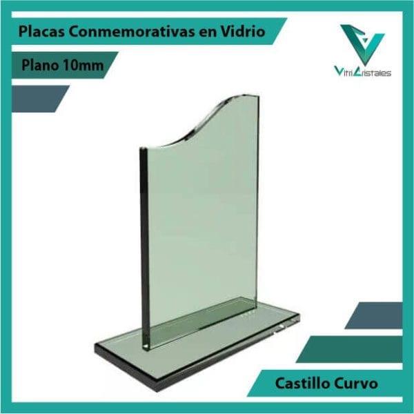 Placas Conmemorativas en Vidrio Castillo Curvo personalizada con grabado laser