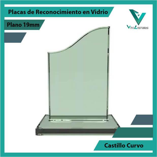 Placas de Reconocimiento en Vidrio Castillo Curvo en grabado laser