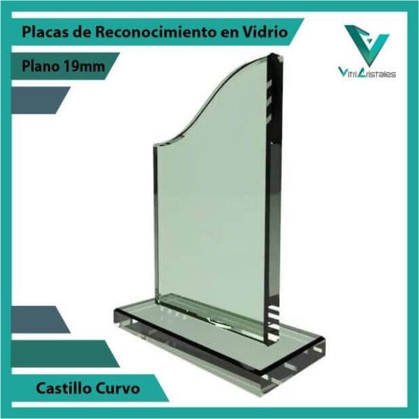 Placas de Reconocimiento en Vidrio Castillo Curvo personalizada con grabado laser