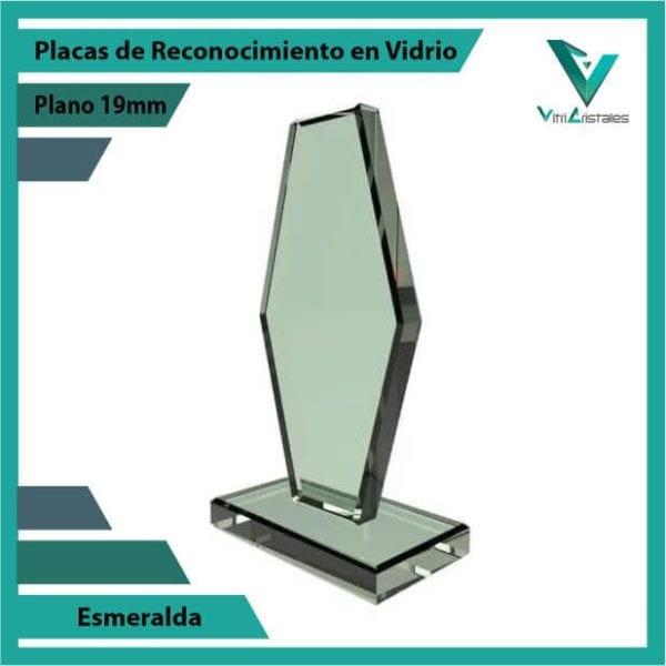 Placas de Reconocimiento en Vidrio Esmeralda personalizada