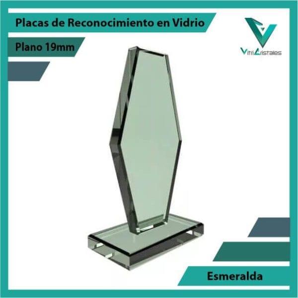 Placas de Reconocimiento en Vidrio Esmeralda personalizada con grabado laser