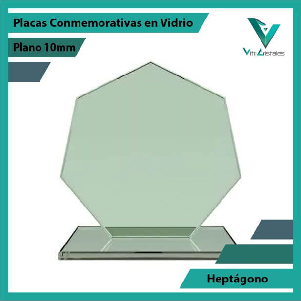 Placas Conmemorativas en Vidrio Heptagono en grabado laser