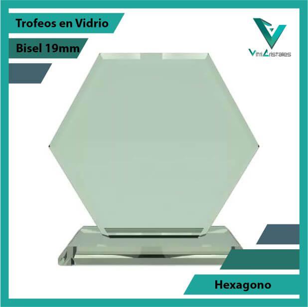 Trofeos en Vidrio Hexágono en grabado laser