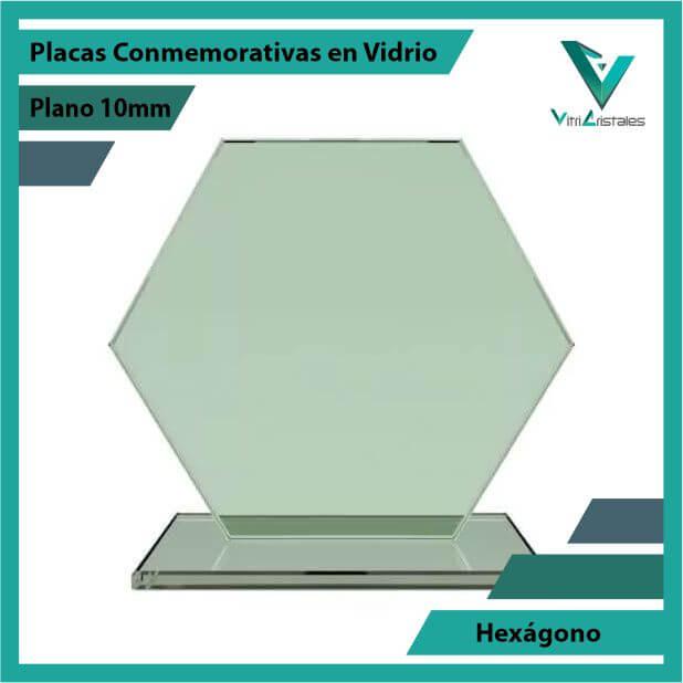 Placas Conmemorativas en Vidrio Hexágono en grabado laser