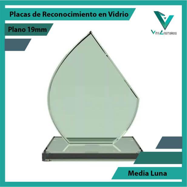 Placas de Reconocimiento en Vidrio Media Luna en grabado laser