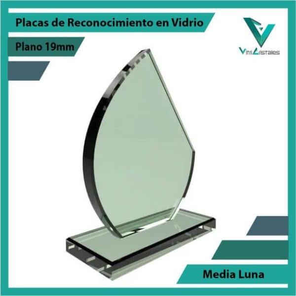 Placas de Reconocimiento en Vidrio Media Luna personalizada con grabado laser