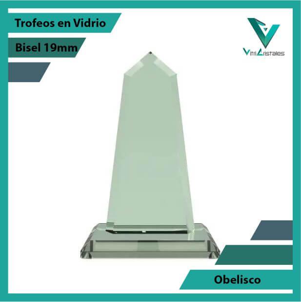 Trofeos en Vidrio Obelisco en grabado laser