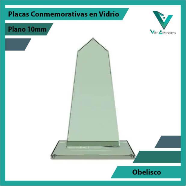 Placas Conmemorativas en Vidrio Obelisco en grabado laser