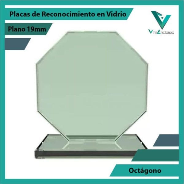 Placas de Reconocimiento en Vidrio Octágono en grabado laser