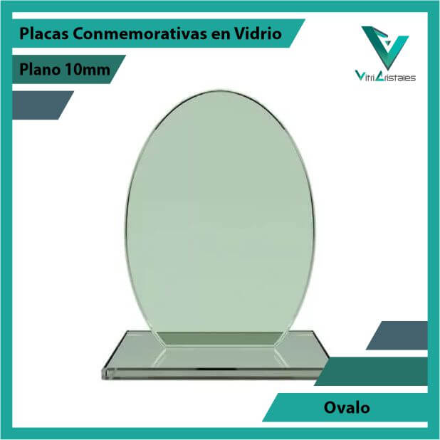 Placas Conmemorativas en Vidrio Ovalo en grabado laser