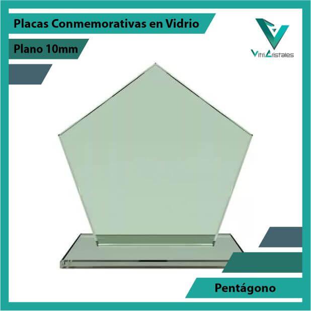 Placas Conmemorativas en Vidrio Pentágono en grabado laser