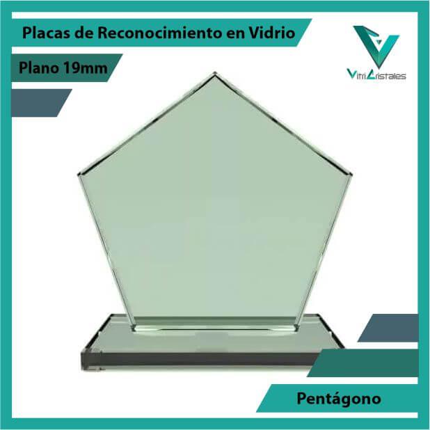 Placas de Reconocimiento en Vidrio Pentágono en grabado laser