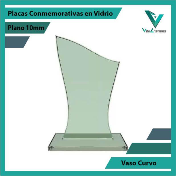 Placas Conmemorativas en Vidrio Vaso Curvo en grabado laser