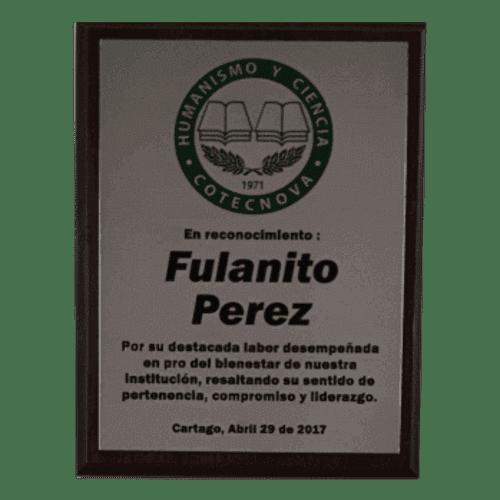 Placa conmemorativa con acero fotograbado a color 500x500