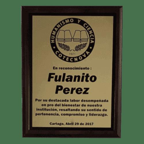Placa conmemorativa con bronce laserable negro mate 500x500