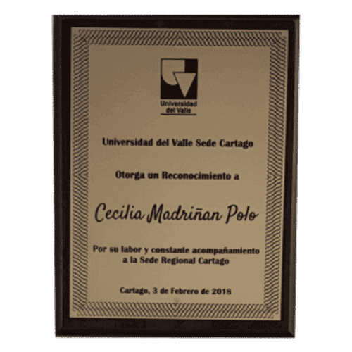 Placa conmemorativa con flexibras dorado 500x500