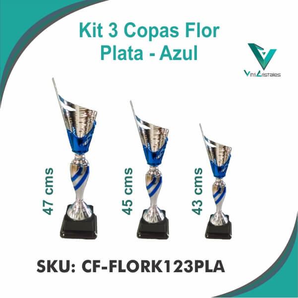 COPA FLOR PLATA AZUL CF-FLORK123PLA