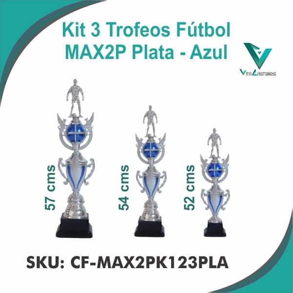 TROFEOS FUTBOL PLATA AZUL CF-MAX2PK123PLA