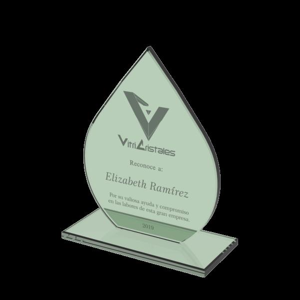 trofeo en vidrio en forma de gota en vidrio 10mm con grabado laser