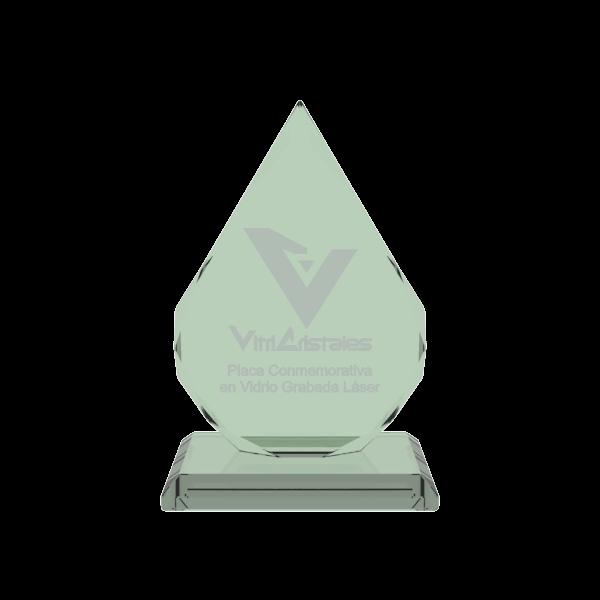 placa conmemorativa en vidrio forma joya especial con grabado laser