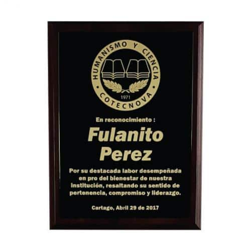 placa de reconocimiento en madera con bronce laserable 1