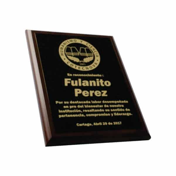 placa de reconocimiento en madera con bronce laserable 4