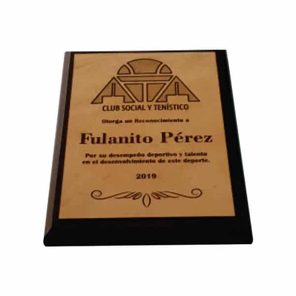 placa de reconocimiento en madera con cuero grabado laser 1