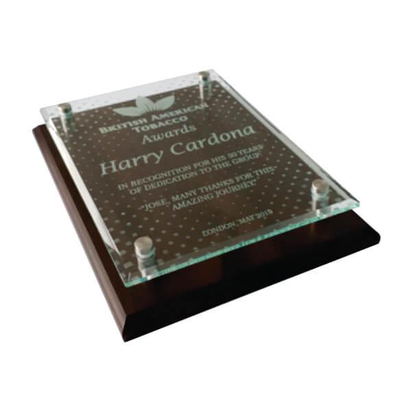 placa de reconocimiento en madera con vidrio grabado laser y dilatadores 3