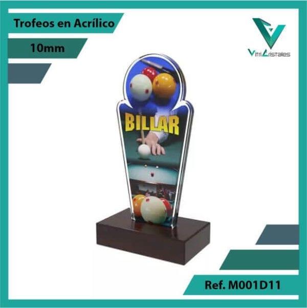 Trofeos en Acrilico Ref 001 L BILLAR