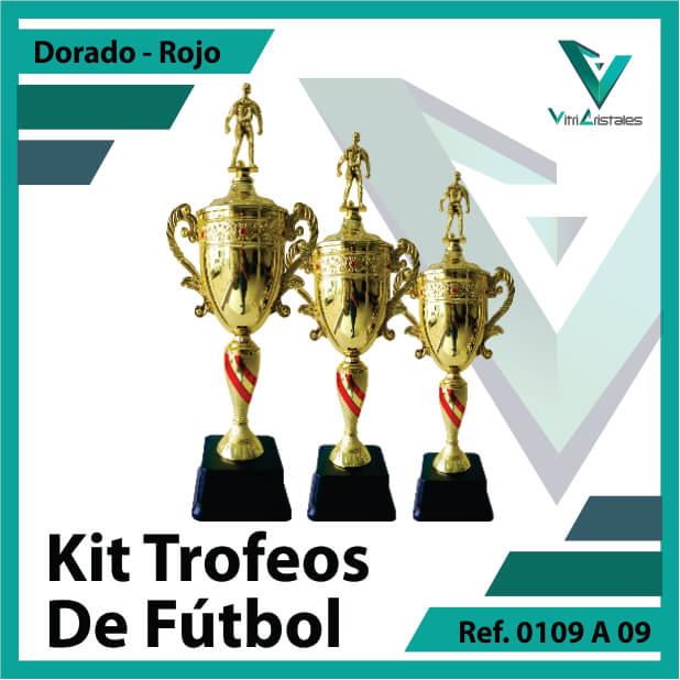 Kit Trofeos deportivos de futbol campeon, subcampeon y tercer puesto Ref.0109A09K123ORR para entrega en Cali
