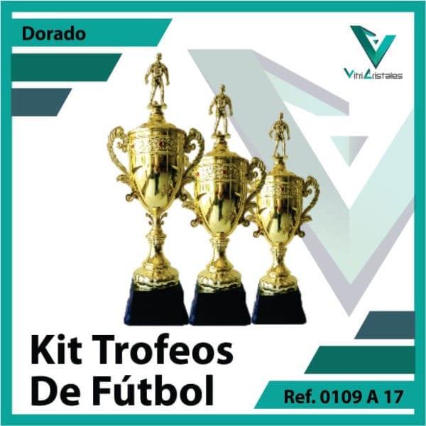 Kit Trofeos deportivos de futbol campeon, subcampeon y tercer puesto Ref.0109A17K123ORO para entrega en Cali