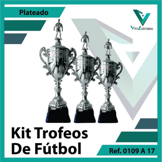 Kit Trofeos de futbol campeon, subcampeon y tercer puesto Ref. 0109A17K123PLA para entrega en Bogotá, Medellin, Cali o para envio a todo el pais