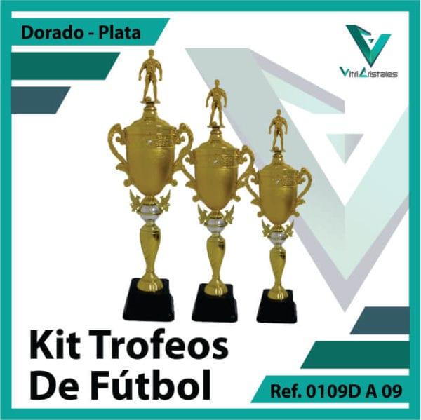 Kit Trofeos de futbol campeon, subcampeon y tercer puesto Ref. 0109DA09K123PLA para entrega en Bogotá, Medellin, Cali o para envio a todo el pais