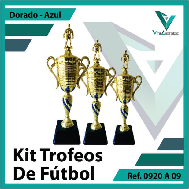 Kit Trofeos deportivos de futbol campeon, subcampeon y tercer puesto Ref.0920A09K123ORA para entrega en Bogotá