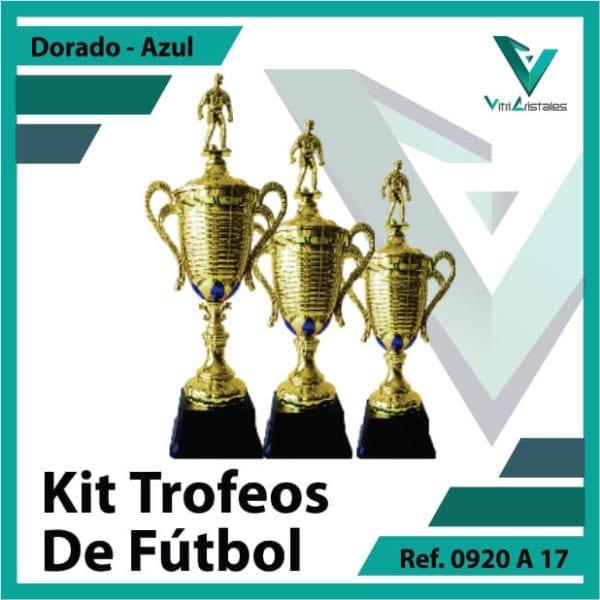 Kit Trofeos deportivos de futbol campeon, subcampeon y tercer puesto Ref.0920A17K123ORA para entrega en Cali