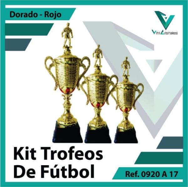 Kit Trofeos deportivos de futbol campeon, subcampeon y tercer puesto Ref.0920A17K123ORR para entrega en Bogotá