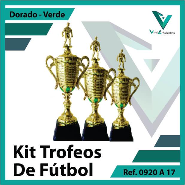 Kit Trofeos deportivos de futbol campeon, subcampeon y tercer puesto Ref.0920A17K123ORV para entrega en Medellin
