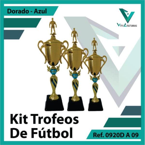 Kit Trofeos deportivos de futbol campeon, subcampeon y tercer puesto Ref.0920DA09K123ORA para entrega en Medellin