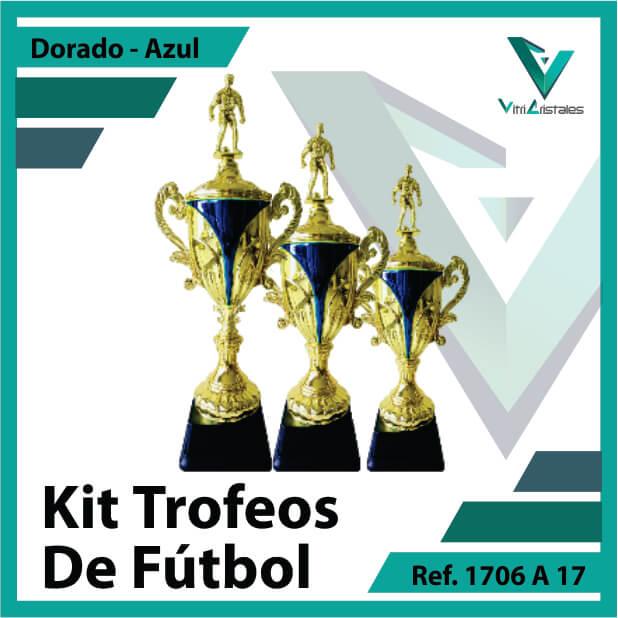 Kit Trofeos de futbol campeon, subcampeon y tercer puesto Ref.1706A17K123ORA para entrega en Bogotá, Medellin, Cali o para envio a todo el pais