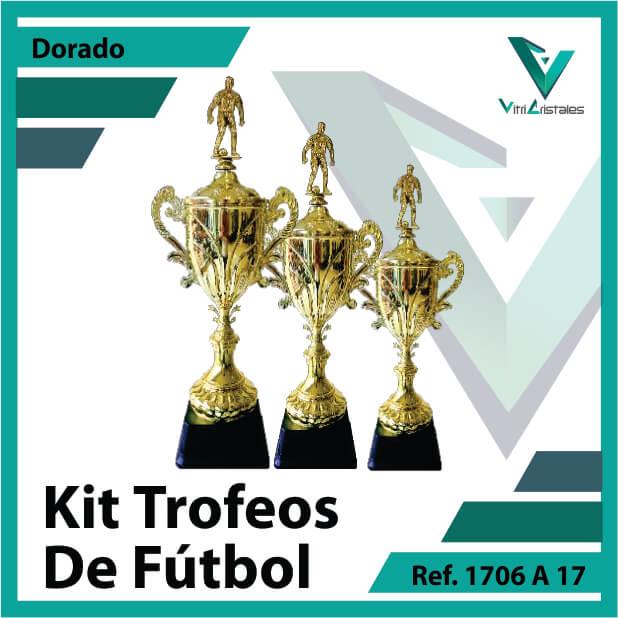 Kit Trofeos deportivos de futbol campeon, subcampeon y tercer puesto Ref.1706A17K123ORO para entrega en Bogotá