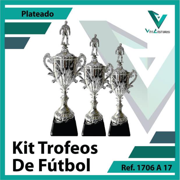 Kit Trofeos deportivos de futbol campeon, subcampeon y tercer puesto Ref.1706A17K123PLA para entrega en Cali