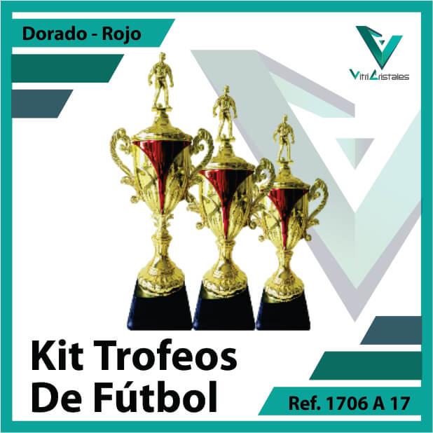 Kit Trofeos deportivos de futbol campeon, subcampeon y tercer puesto Ref.1706A17K123ORR para entrega en Medellin