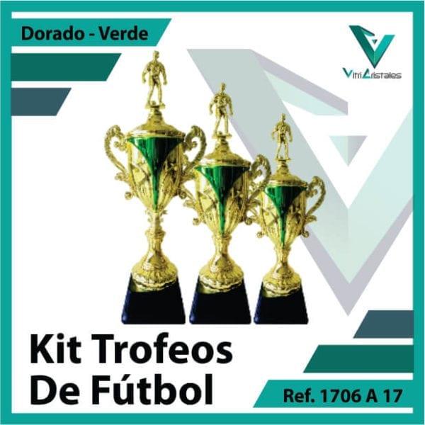 Kit Trofeos deportivos de futbol campeon, subcampeon y tercer puesto Ref.1706A17K123ORV para entrega en Cali