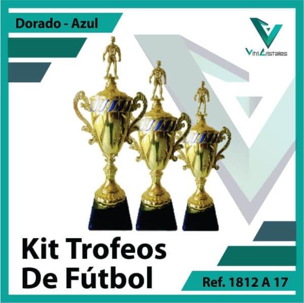 Kit Trofeos deportivos de futbol campeon, subcampeon y tercer puesto Ref.1812A17K123ORA para entrega en Medellin