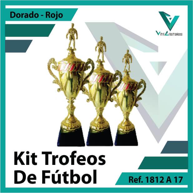 Kit Trofeos deportivos de futbol campeon, subcampeon y tercer puesto Ref.1812A17K123ORR para entrega en Cali