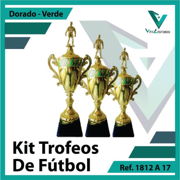 Kit Trofeos deportivos de futbol campeon, subcampeon y tercer puesto Ref.1812A17K123ORV para entrega en Bogotá