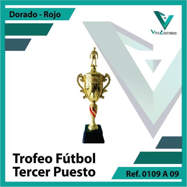 Trofeos deportivos de futbol tercer puesto Ref.0109A093ORR para entrega en Cali
